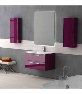 Meuble salle de bain rouge pas cher for Meuble de salle de bain suspendu pas cher