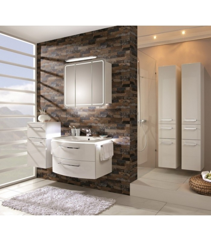 Meuble suspendu salle de bain lunic 80 banyo for Petit meuble salle de bain suspendu