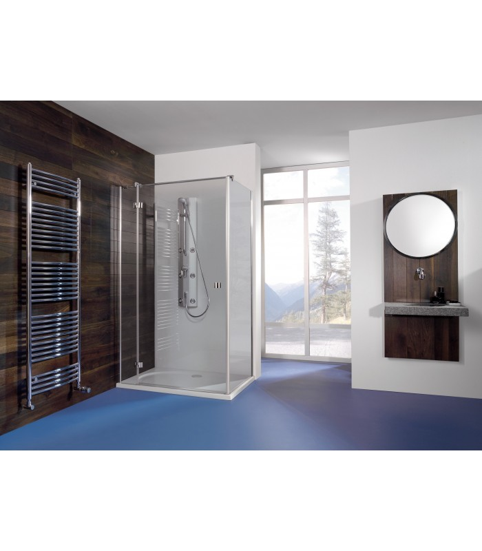 Espira porte pivotante avec paroi fixe lat rale banyo for Porte de douche avec paroi fixe