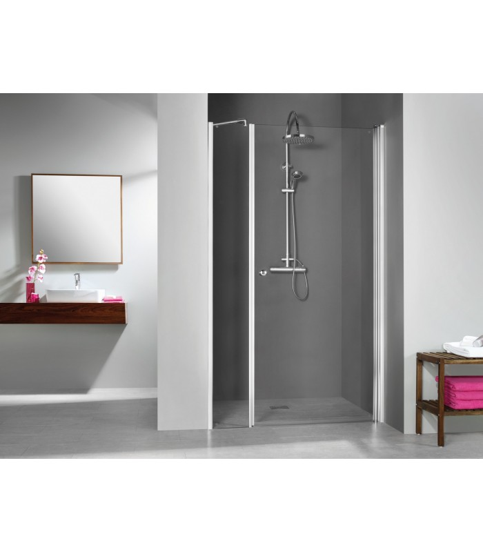 Elana porte pivotante avec paroi fixe en alignement banyo for Porte de douche avec paroi fixe