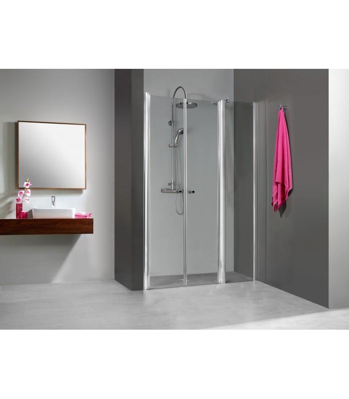 Elana porte battante avec fixe en alignement banyo for Porte de douche fixe