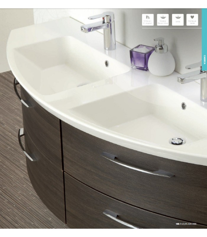Meuble suspendu salle de bain double vasque cassca 153 banyo for Meuble salle de bain suspendu