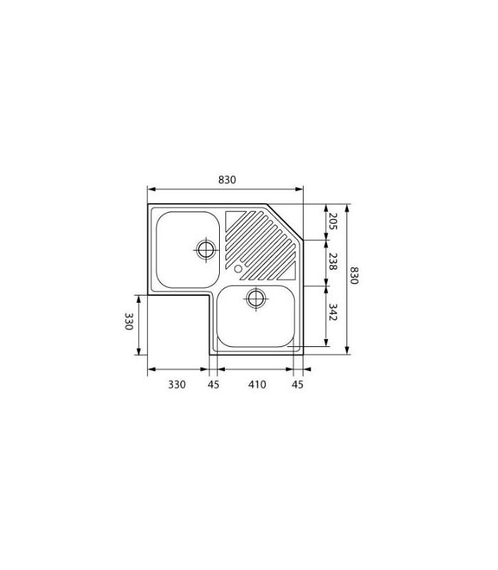 Evier d 39 angle inox avec 2 bacs banyo for Evier d angle 2 bacs