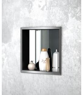 Niche à encastrer en inox,avec panneau arrière miroir,ouverte pas cher & discount