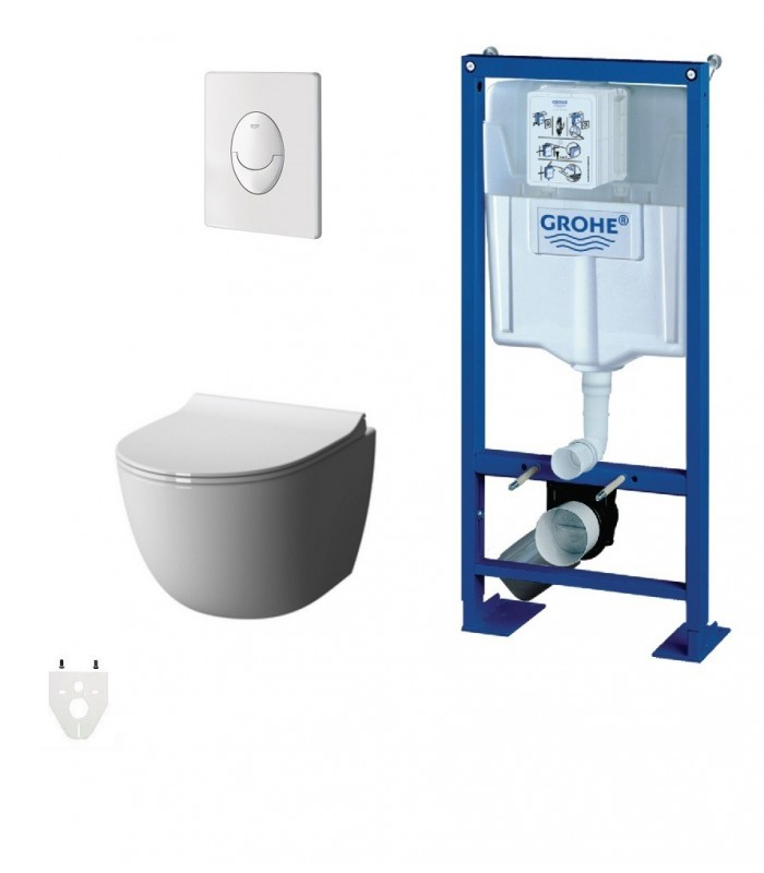Pack wc suspendu grohe daily 39 o sans bride banyo for Photo wc suspendu